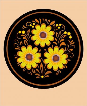 handwork pattern  round ornament, decorative bouquet in national Ukrainian art on a black background