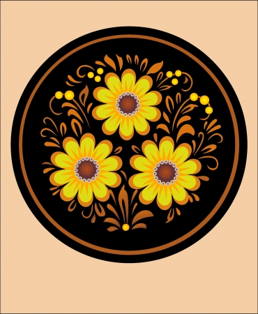 trabajo manual: patr�n de trabajo hecho a mano ornamento redondo, ramo decorativo en el arte ucraniano nacional sobre un fondo negro Vectores