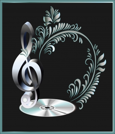 Musical key and disk with silver leaves  Иллюстрация