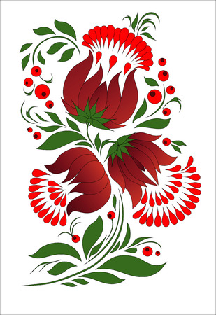 Buds of big flowers on branches, decorative bouquet in national art   Vector