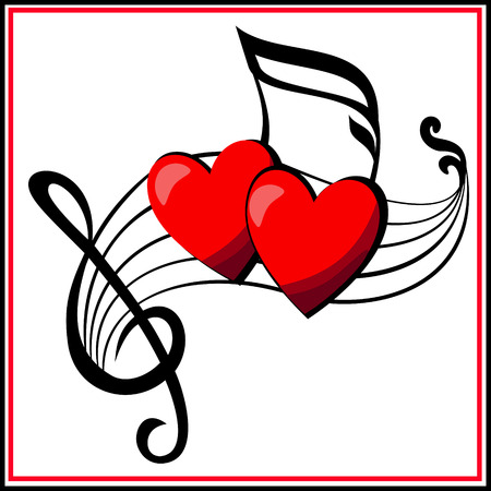 Two musical hearts  play together on a musical camp,  they united in the love forever  Иллюстрация