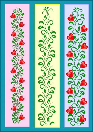 decoratieve tape ornament met rode harten op groene takken met een set van bladeren