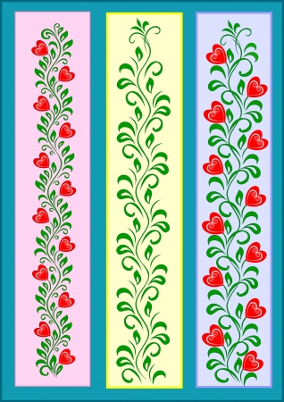decorative tape ornament with red hearts on green branches with a set of leaves Иллюстрация