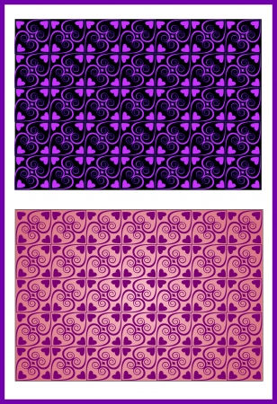 Seamless texture with symmetric decorative elements curls hearts of pink lilac color for a background  Иллюстрация
