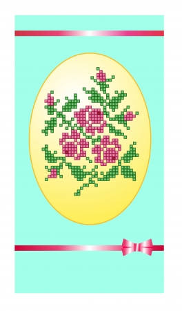 bead embroidery: The greeting card in an ellipse of decorative ornament in the form of a bouquet and leaves embroidered the image with beads on a turquoise background and a strip of a pink satin ribbon with a bow