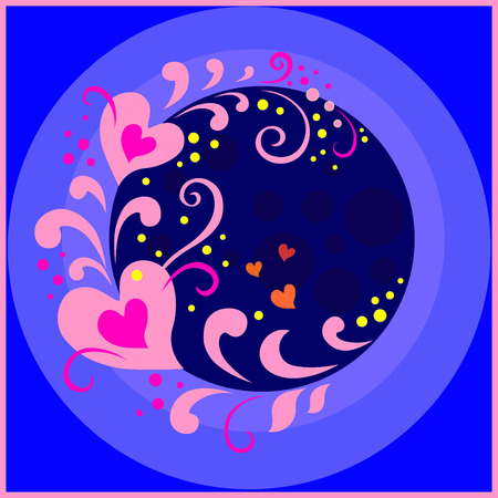Fireworks of pink red hearts are twirled on a stalk on a spiral with leaves and curls against the blue night