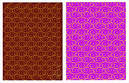 Seamless background from spiral curls of densely connected in decorative ornament gold, yellow, brown lilac color