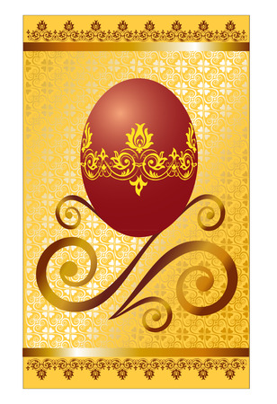 Easter greeting card the image of Easter red egg and a decorative ornament below against from brocade and two strips of a satin strip with lace
