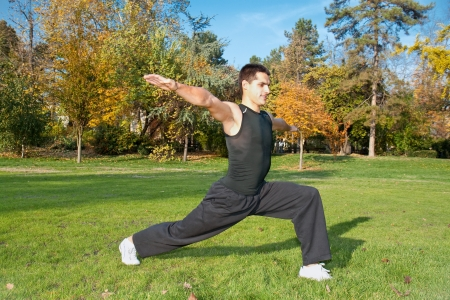 young gymnast: Attractive young man doing exercise in autumn park