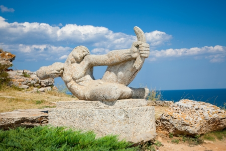 fortify: Stone statue in the medieval fortress on cape Kaliakra, Bulgaria