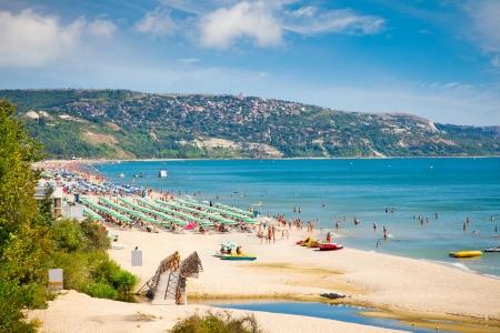 bulgaria girl: Golden sands beach  Zlatni Piasci  on Black se coast in Bulgaria