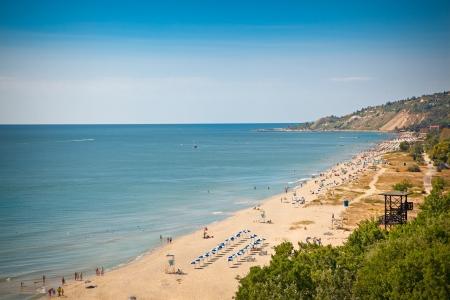 bulgaria: Panoramic view on west part of Golden Sands beach  Zlatni Piasci  in Bulgaria  Stock Photo