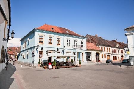 mian: Mian square with old architecture in Medias, Transylvania, Romania Stock Photo