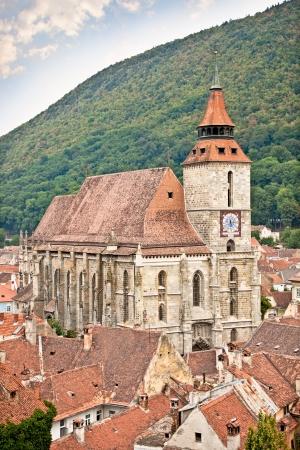 high priest: Panoramic view on Black Church in Brasov, Transylvania, Romania  Stock Photo