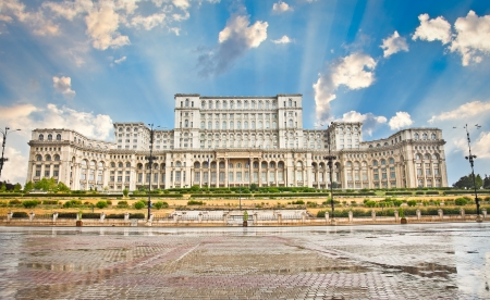Parliament of Romania, the second largest building in the world, built by dictator Ceausescu in Bucharest  Romania Banco de Imagens - 17826138