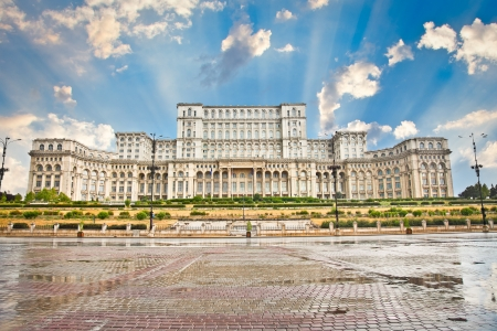 Parliament of Romania, the second largest building in the world, built by dictator Ceausescu in Bucharest  Romania Banco de Imagens - 17826647