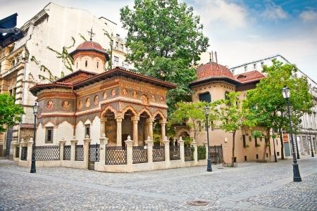 Stavropoleos Monastery , St  Michael and Gabriel church in the old town area in Bucuresti, Romania  Banco de Imagens