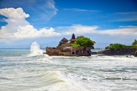 The Tanah Lot Temple, the most important hindu temple of Bali, Indonesia. photo