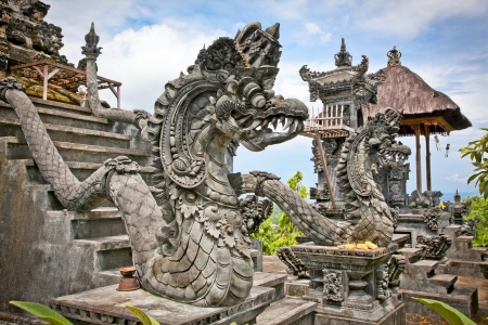 Dragon monster secure the entrance of Pura Padmasana Puja Mandala Temple. Nusa Dua, Bali . Indonesia