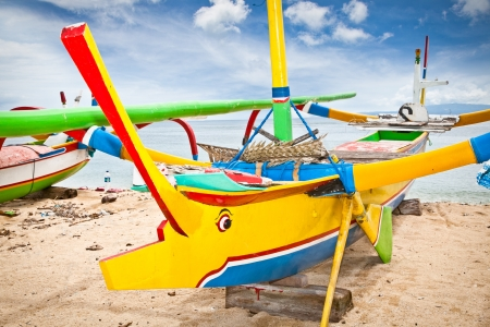 Traditional fishing boats on a beach, Nusa Dua, Bali. Indonesia.