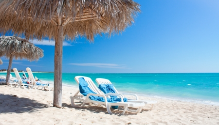 Beautiful tropical beach at the Caribbean island with white sands , Cuba Stock Photo