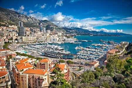 principality: Panoramic view of Monte Carlo harbour in Monaco. Azur coast.