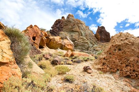 Volcanic  landscape on Teide, Tenerife, Canary Islands, Spain.  Stock Photo