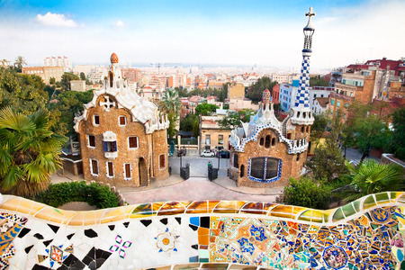 Colorful architecture by Antonio Gaudi. Parc Guell is the most important park in Barcelona. Spain Редакционное