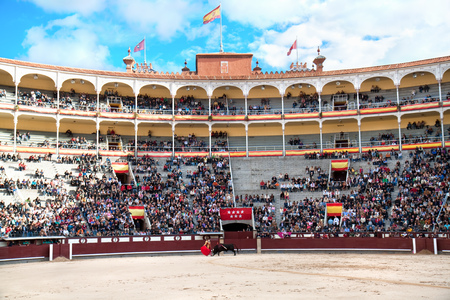 MADRID - OKTOBER 17: Bullfighter fights for a sold out crowd at the Plaza del Toros de Las Ventas, in Madrid, Spain.