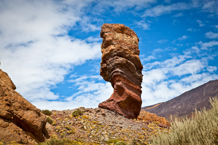 Roques de Garcia, with volcano in the background, in Teide National Park, Tenerife, Canary Islands, Spain