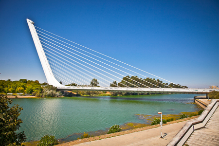 SEVILLE, SPAIN - SEP 9: Alamillo bridge on Sep 9, 2011 in Seville, Spain. Construction of the bridge was completed in 1992 for the Universal Exposition. It is a design of Santiago Calatrava.