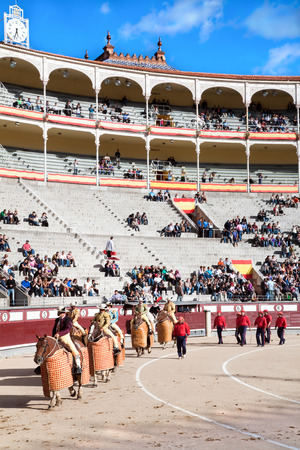MADRID, SPAIN-OKTOBER 17: Corrida starts with the defile by three cuadrillas (teams) of toreros (bullfighters)  before a bullfight at the Plaza del Toros de Las Ventas, Oktober 17, 2010, Madrid, Spain  Editorial