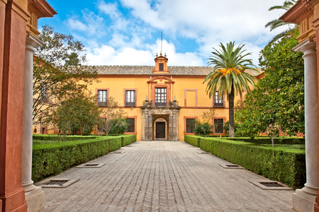 Courtyard of Alcazar, Seville, Andalusia, Spain Stock Photo