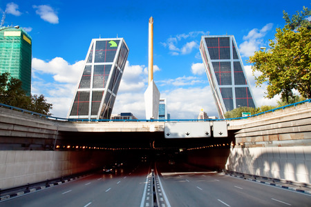 Puerta de Europa towers, built in 1996, are the first inclined skyscrapers in the world. Madrid, Spain