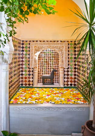 Typical arab spa with flowers in Cordoba, Andalusia, Spain. Reklamní fotografie