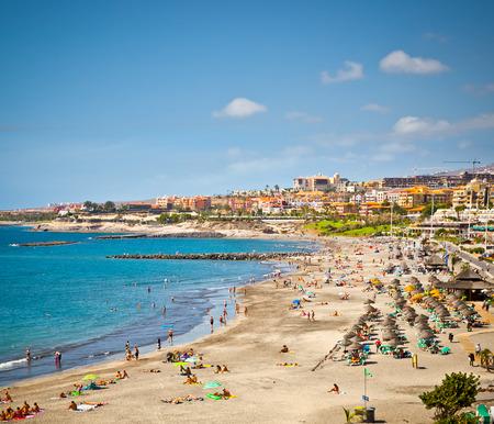 Beautiful send beach in Coste Adeje Playa de las Americas on Tenerife, Spain. Stock Photo