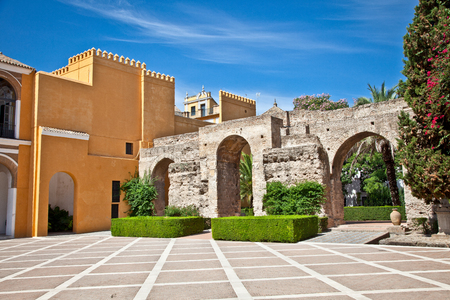 Courtyard of Rolal Alcazar in Seville, Andalusia, Spain