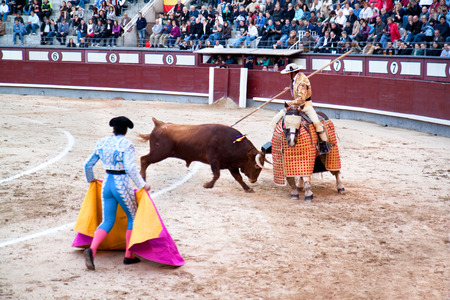 MADRID, SPAIN - OCTOBER 17: The horseback picador continues to stab the bulls neck leading to the animals first major loss of blood and makes him ready for the next stage. October 17, 2010, Spain