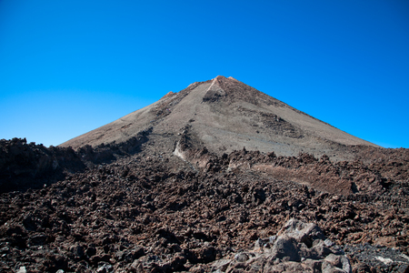 Top of Teide volcano and  lava landscape on Tenerife, Canary Islands, Spain.