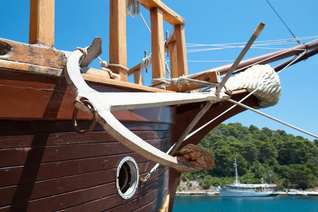 Anchor, detail of the old sailing boat , Croatia Banco de Imagens