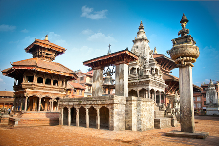 Temples of Durbar Square in Bhaktapur, Kathmandu valey, Nepal. 免版税图像