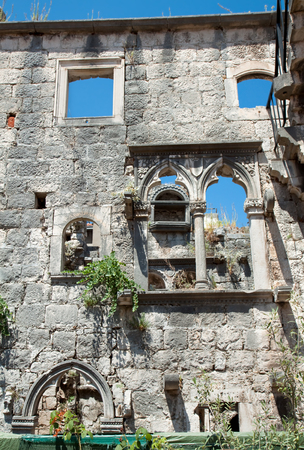 Over grown ruins of the home of Marco Polo on the island of Korcula, Croatia