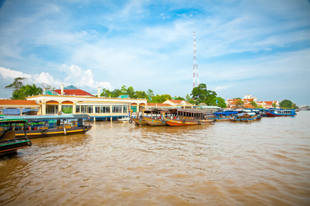 Tourist port is  tp. My Tho in Mekong delta , Vietnam.