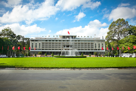 Reunification Palace, landmark in Ho Chi Minh City, Vietnam or Independence Palace (DINH THONG NHAT)  was home and workplace of President of South Vietnam. Foto de archivo