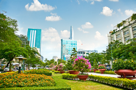 Park in centre of Ho Chi Minh City or Saigon, Vietnam.