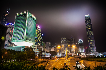 HONG KONG - MARCH 15, 2016: Hong Kong street at night, China, March 15, 2016 in Hong Kong, China Editorial