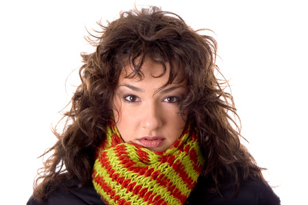 Baautiful brunette with shawl Banco de Imagens - 120897073