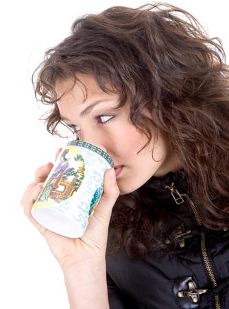 Bautiful woman drinking tea