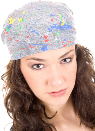 Atractive girl with multi colours kerchief on head