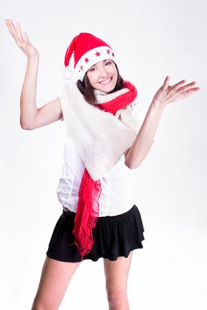 Mrs. Santa coming soon, studio shot Standard-Bild - 120897499